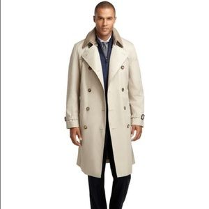 Brooks Brothers Double-Breasted Khaki Trench Coat.